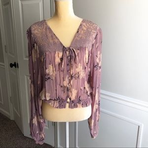 Free People floral lace sheer blouse